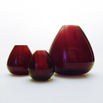 RUBY vases, Per Ltken (Holmegaard, 1952)