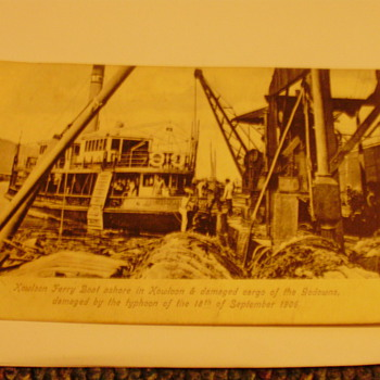 Kowloon Ferry boat 1906.  S S Sardinia on Fire 1908 - Photographs