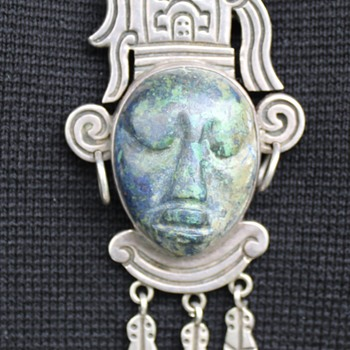 TAXCO CARVED FACE SILVER PENDANT AND BROOCH STONE? - Fine Jewelry
