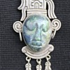 TAXCO CARVED FACE SILVER PENDANT AND BROOCH STONE?