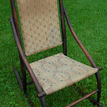 Antique Wooden Upholstered Rocking Chair