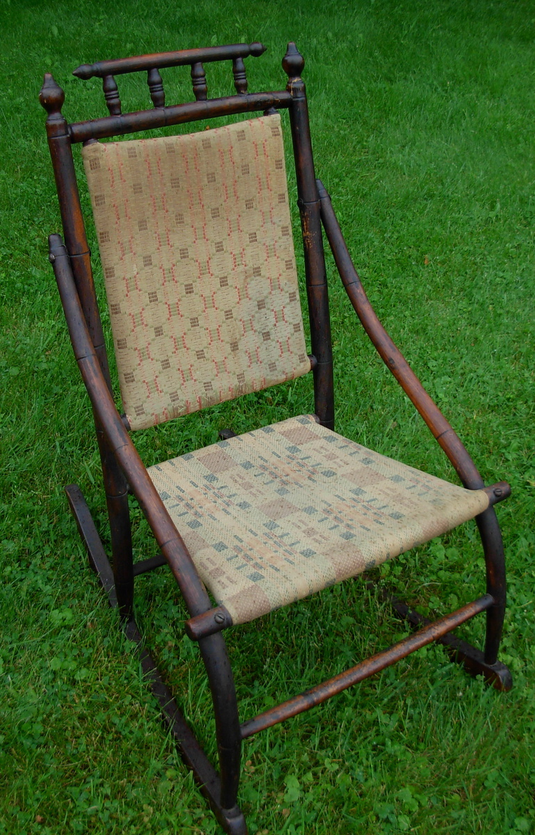 antique wooden upholstered rocking chair collectors weekly. Black Bedroom Furniture Sets. Home Design Ideas