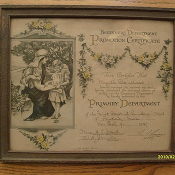 1927 Sunday School Certificate