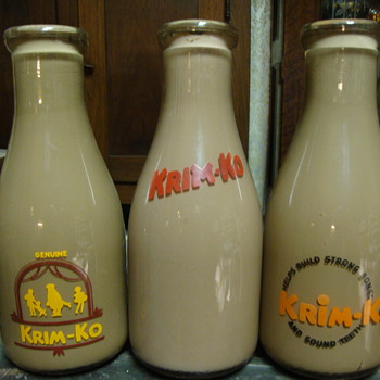 3 Krim Ko Chocolate Milk Salesman Sample Milk Bottles....