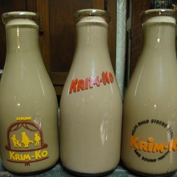3 Krim Ko Chocolate Milk Salesman Sample Milk Bottles.... - Bottles