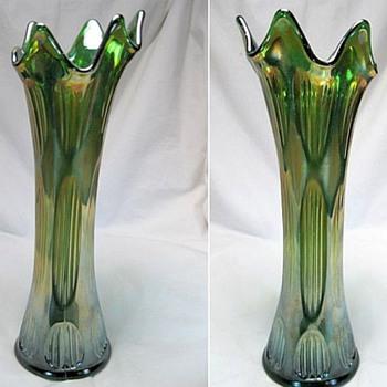 Fenton Green Carnival Vase & Blue Opalescent Fan Vase
