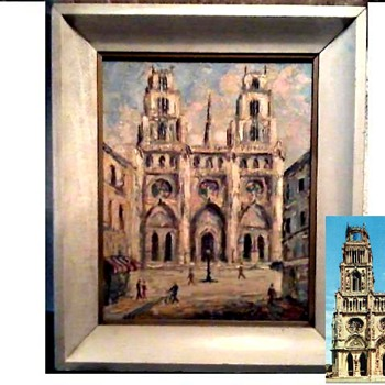 """Catherdral In Southern France"" (Saint Croix's Orleans) by Margaret Pelzl / 8"" x 10"" Oil On Canvas Board / Circa 1964"