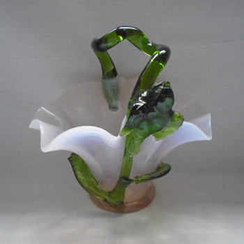 Art Nouveau Kralik Basket with Applied Bird - Art Glass