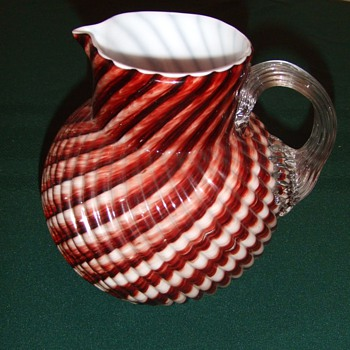 "Victorian Art Glass ""Cottage Glass"" pitcher"