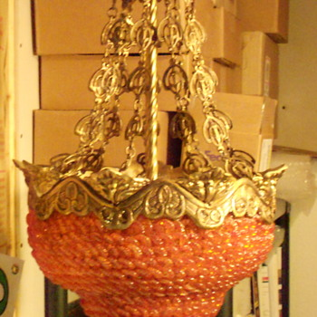 Orange glass & brass cast hanging lamp. - Lamps
