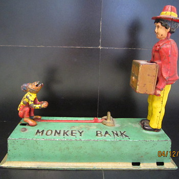 Circa 1925 Original Monkey Bank - Coin Operated