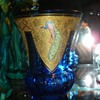 Cut, Etched, Enameled, and Gilded Cobalt Crystal Vase - Goldberg?