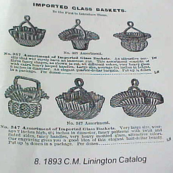 1893 C.M. Linington Catalog Advertisment of Imported Baskets - Art Glass