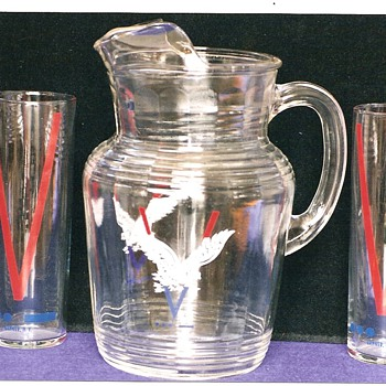 V for Victory Water Pitcher and Glasses