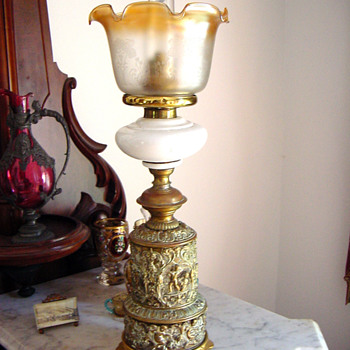 Antique Victorian Gilt Bronze Kerosene Lamp - Lamps