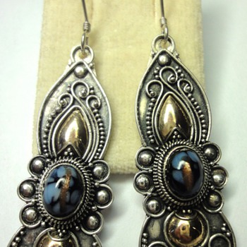 Silver, wedding bead filligree earrings with golden accents - Victorian Era