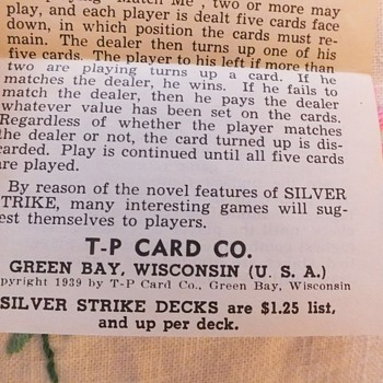 SILVER STRIKE cards 1939 Rules/Games - Cards