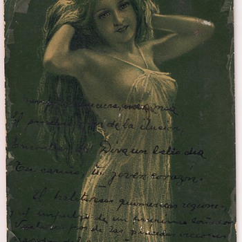 Antique erotic postcard, high resolution picture