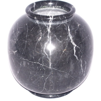 "Black Marble Vase with White Veine""1920-40"