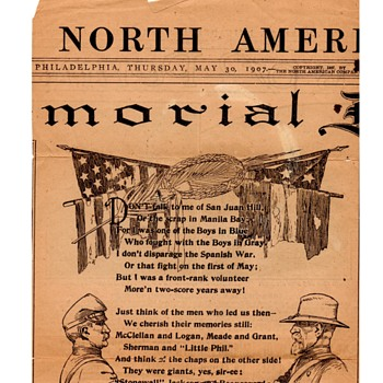 1907 Decoration / Memorial Day Poem - Military and Wartime