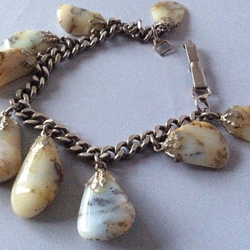 Antique silver and stone bracelet