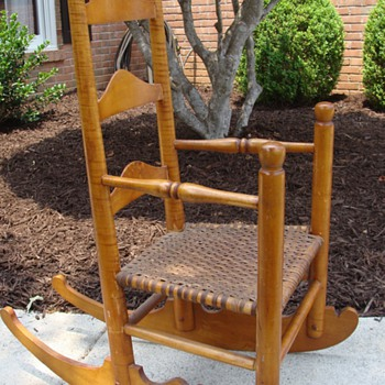 Child&#039;s Rocker or Ladies Rocker 3 Slat Ladderback Hickory Seat - Furniture