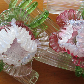 KRALIK DOUBLE TUBE FLOWER VASES - Art Glass