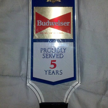 BUDWEISER 5TH ANNIVERSARY TAP HANDLE - Breweriana