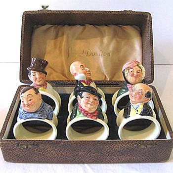 Royal Doulton Napkin Rings : Complete Set of Six Dickens Characters in the original Leather Box c. 1935 – 1939