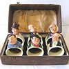 Royal Doulton Napkin Rings : Complete Set of Six Dickens Characters in the original Leather Box c. 1935  1939