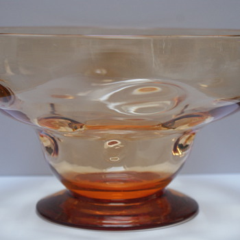 Webb Amber Bullseye Bowl - Art Glass