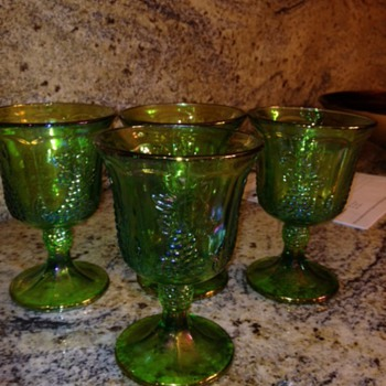 green carnival glass  - Glassware