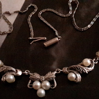 Antique cultured pearl and sterling silver necklace