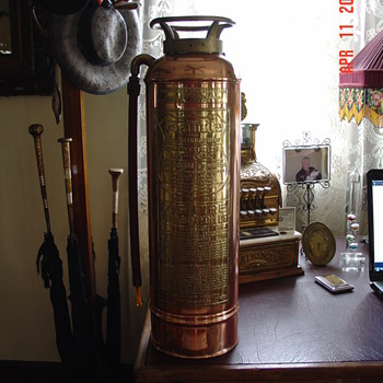Copper Fire Extinguisher With Brass Name Plate