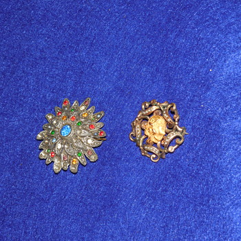 Very old Antique Pieces- Woman with gold flower in hair pin, silver multi-colored rhinestone flower starburst