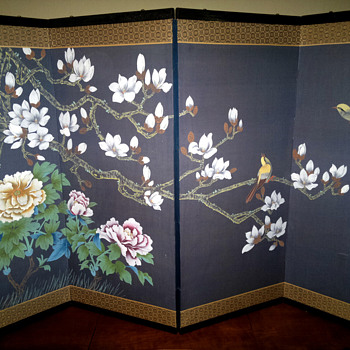 Large Asian 4 panel  painted screen