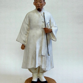 Japanese or Chinese figure, carved, cast. hand painted scholar/noble~Beautiful - Asian