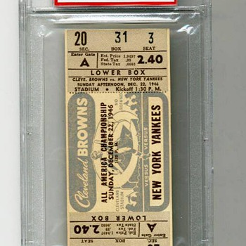 1946 AAFC NFL Championship Game Ticket PSA 10 Superbowl Cleveland Browns