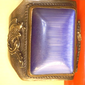 Large mens ring w/ blue glass stone & dragons