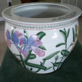 Chinese  ceramic   Flower & Fish Bowl or Planter /with mark - Asian