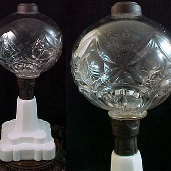 Antique Whale Oil Fluid Lamp ca. 1870 by Hobbs Brockunier Flint Glass with Blackberry Pattern Base
