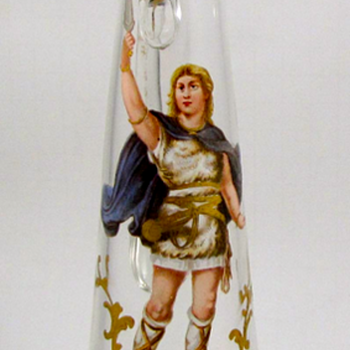 Josephinenhütte Ewer - enameled image of Siegfried after C.E. Doepler - Art Glass