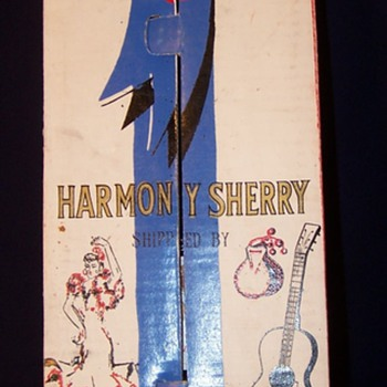 Harmony Cream Sherry in Guitar-Shaped Bottle by Ed Delage - Bottles