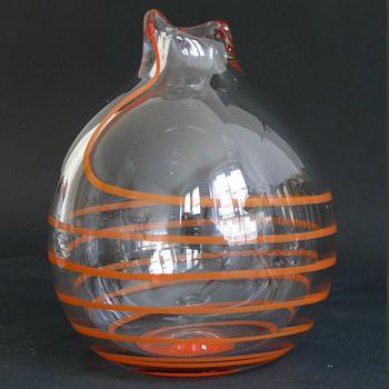czech orange concentric threaded vase with pontil mark