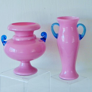 Bella's Kralik Pink Cased Blue UV Reactive Urn Vase