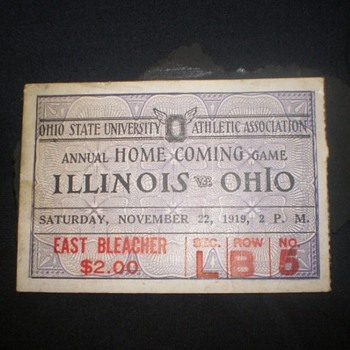 Ohio State 1919 Football Game Illinois Ticket