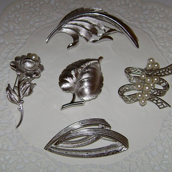 Silver Tone Trifari Brooches - Costume Jewelry