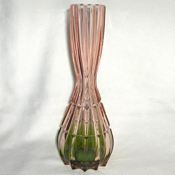 Vintage Rosa Verde Cut Optic Glass Vase Organic Form & Design