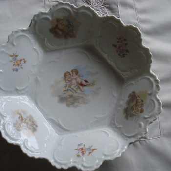 Antique RS Prussia six paneled porcelain bowl - China and Dinnerware