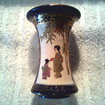 Little Japanese Satsuma Flare Vase / Cobalt Blue with Figures and Gilding / Unknown Age - Asian
